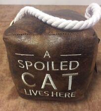 A Spoiled Cat Lives Here Heavy 1.5kg  Square Cube Doorstop Door Wedge Door Stay