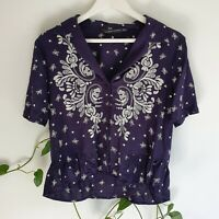 Zara Embroidered Button Blouse XS Floral Polka Dot Loose Navy White Rayon Boho