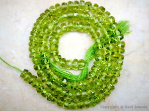"PERIDOT 4.5-5mm diameter Faceted Rondelle Gemstone Beads 14"" Strand"