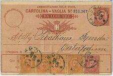 ITALIA REGNO:  storia postale - VAGLIA POSTALE 1892 :  Da Palermo a Calatafimi