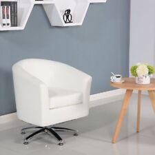 DESIGNER LEATHER WHITE SWIVEL TUB CHAIR ARMCHAIR OFFICE CHAIR FACTORY SECONDS