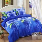 3D Duvet Cover Pillowcase Quilt Cover Home Bed Set Single Queen King Blue Rose