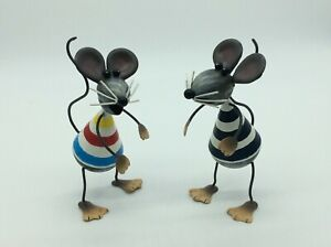 2 Charming Metal Mouse Plant Pot Holders or Cute free standing Decoration