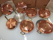 BEAUTIFUL SET IN COPPER PANS WITH INTERNAL ALUMINUM , BRASS HANDLE !!
