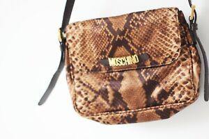 Original Moschino Redwall Vintage Snake Print Soft Brown Shoulder Bag