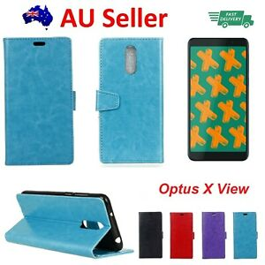 Optus X View Leather Wallet Cover Soft Back Case with Stand