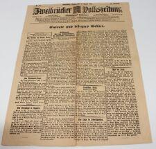alte Zeitung Zweibrücken, Zweibrücker Volkszeitung, 23.08.1919 #H295