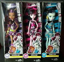 New Lot of 3 Monster High Dolls, Draculaura, Clawdeen Wolf, Frankie Stein
