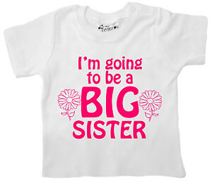"""New Sister Baby T-Shirt """"I'm Going to be a Big Sister"""" Girl's Top Tee Clothes"""