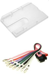 Enclosed Poly Carbonate ID Card Holder with Lobster Clip Breakaway Lanyard