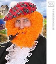 Orange vif Bouclé Perruque Afro Avec Barbe Écossais Piper tartan robe fantaisie