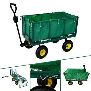 Carro de AREBOS Carro de transporte de 550 kg Carro de jardín Carro demano Lona