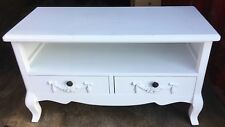 TRADITIONAL TV  STYLE 2 DRAWER STORAGE UNIT IN WHITE ( COLLECTION ONLY )