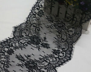 LOT 3Meters Black French Style Chantilly Eyelash Double Edge Lace Trim Wide 25cm