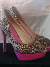 "Privileged Platform 5"" Heels Floral Pink Pumps PeepToe Size 8.5,9"