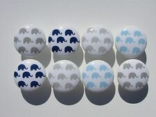 Set of 8 Blue and Gray Elephant Dresser Drawer Knobs Pulls