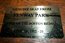 BOSTON RED SOX FENWAY PARK   Stadium seat PLAQUE