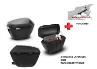 KIT SHAD fijacion+ maletas laterales tapa titanio SH23 SUZUKI V-STROM 650 12-16