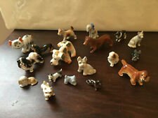 Porcelain or Pottery Miniature Dog Collection, Lot of 19, Nice condition