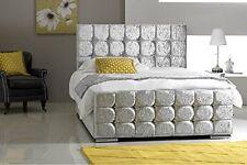 CRUSHED VELVET UPHOLSTERED CUBE BED 3FT,  4FT 6,  5FT   *CHEAPEST BED ON EBAY*