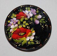 Beautiful Sapfir UA Ukraine Hand Painted Floral Wooden Magnet, Signed by Artist