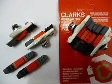 2 Pair Clarks Road Bike Brake Pad Blocks Shoe Bicycle Cycle Caliper CPS240 White