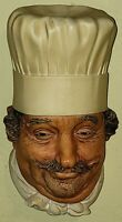 Vintage  BOSSONS The Chef Chalkware Head Wall Hanging 1969 England
