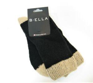 b.ella Ladies 57% Merino Wool Blend Crew Socks Alpino Black / Suede Brown - NEW