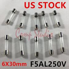 Compstudio 10pcs/lot F5AL250V Fuses 5A 250V  Fast-Blow Fuse Glass Tube 6X30mm