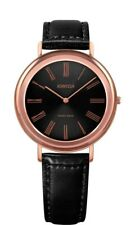 Jowissa Alto Swiss Made Rose Gold Tone Black Dial Leather Women's Watch J4.310.M