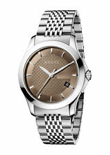 New Gucci G-Timeless YA126406 Brown Dial Stainless Steel Men's 38mm Watch