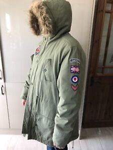 Men's Khaki Hooded Parka Coat (Fishtail) - Size 2XL - Scooter MOD