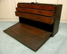 ANTIQUE PRIMITIVE EARLY WOOD MACHINIST CHEST WITH DRAWERS ~ WOODEN TOOL BOX
