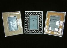 Silver Crystal Cloisonné Pearl Enamel 4x5 Picture Frame Set for 2x3 School Photo