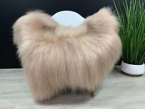 Real Icelandic Sheepskin Rug Pelt Cappuccino Beige Luxury Rug Seat Cover Pet Bed