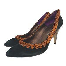 ADRIAN VIDAL Black Genuine Suede Ribbon Trim Heels Size 6 39 - E20
