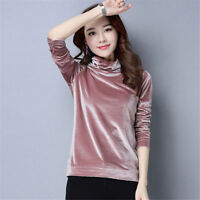 Korean Women Velvet Blend Turtleneck Basic Long Sleeve Blouse Stylish Top Solid