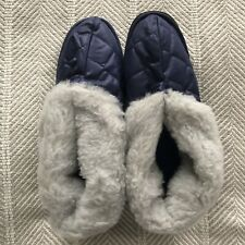 vintage jiffies house slippers navy blue fleece lined size Large 10-11 NIB NEW