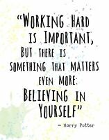 HARRY POTTER Famous Quote Wall Art Print: BELIEVING IN YOURSELF IS IMPORTANT