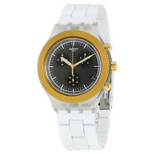 Swatch Irony Chronograph Black Dial White Plastic Mens Watch SVCK4081AG