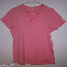 DENIM & CO. - Cap Sleeved CORAL Top w/Embellished Neck - Sz XL - NWOT!