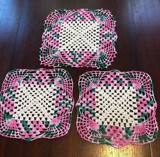 New listing Stunning vtg. Set of 3 crocheted doilies w/ variegated pink/green square shaped