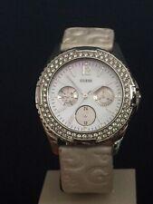 Guess Señoras Reloj Correa De Cuero Blanco 111528L1 Batería Nueva