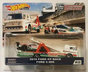 HOT WHEELS 2020 TEAM TRANSPORT 2016 FORD GT RACE + FORD C-800 #20  VHTF