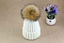 Women Wool 15cm Pom Pom Ball Knit Crochet Baggy Bobble Hat Beanie Beret Ski Cap