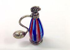 riproduzione porta profumo in argento massiccio 800% con vetro di Murano ITALY