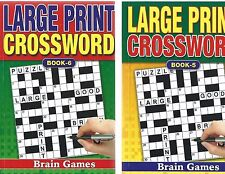 2 LARGE PRINT CROSSWORD BOOKS 75 PUZZLES IN EACH A5 SIZE BOOKS 5 & 6 -FREE P/P