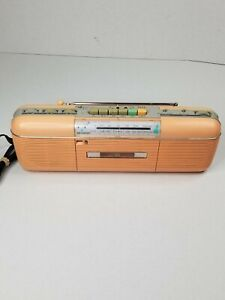 VINTAGE SHARP BOOMBOX QT-50(P) AM/FM RADIO CASSETTE, STRANGER THINGS Peach