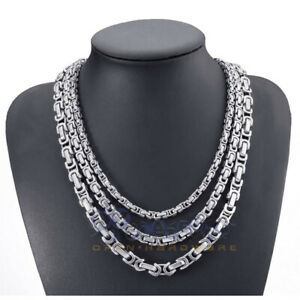 6.5/8.5 MM Men's Necklace Stainless Steel Silver Tone Byzantine Chain Jewelry