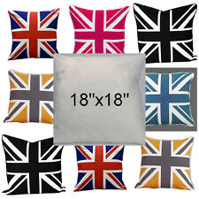 "Union Jack Cushion Covers & Insert Mustard Grey Yellow 18""x18"" Cover 45cm x 45cm"